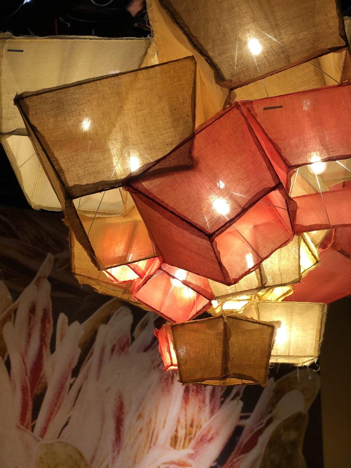 Linen Suspension Lamp Nuvola