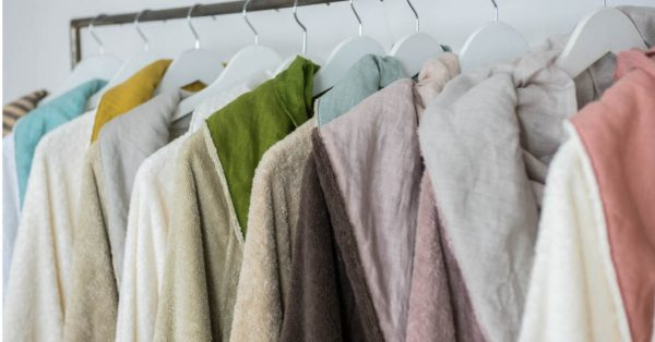 Cotton terry towels and bathrobes in summer colors